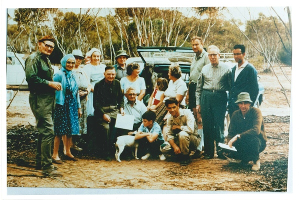 Historic Meeting on Portee Station, May 1968. (L to R) Helge & Phyllis Hergstrom, Marjorie Molineux, Connie Wilks, Louis Power (owner of Portee Station), Milton Wilks, Berna Clements, Hubert Pitt, children, Peg Conquest, Trevor Mathews, Jack Conquest, Bert Molineux, Barry Warren, George Woolmer. Taken by Alwin Clements