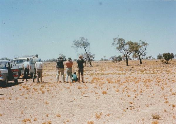 Society Members. The day we visited Portee Station property to view the starving wombats, December 1967. All that remains is Zygophyllum which is inedible