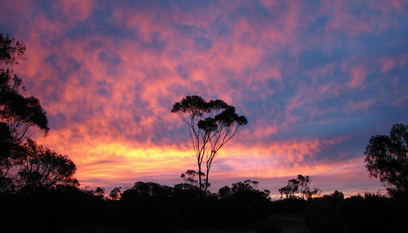 """A beautiful sunset at Moorunde. A frequent sight and one of the """"rewards""""."""